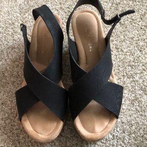 Black cork heels